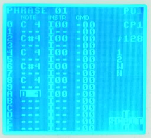 Blue backlit DMG screen running inverted palette LSDj