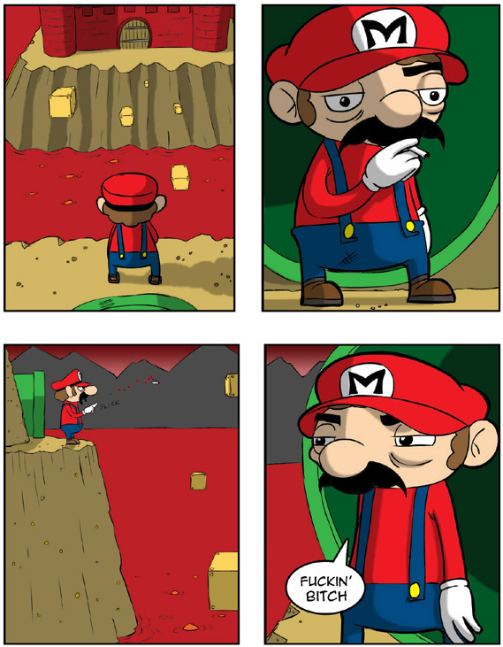 Bitter Mario outside of Bowser's Castle
